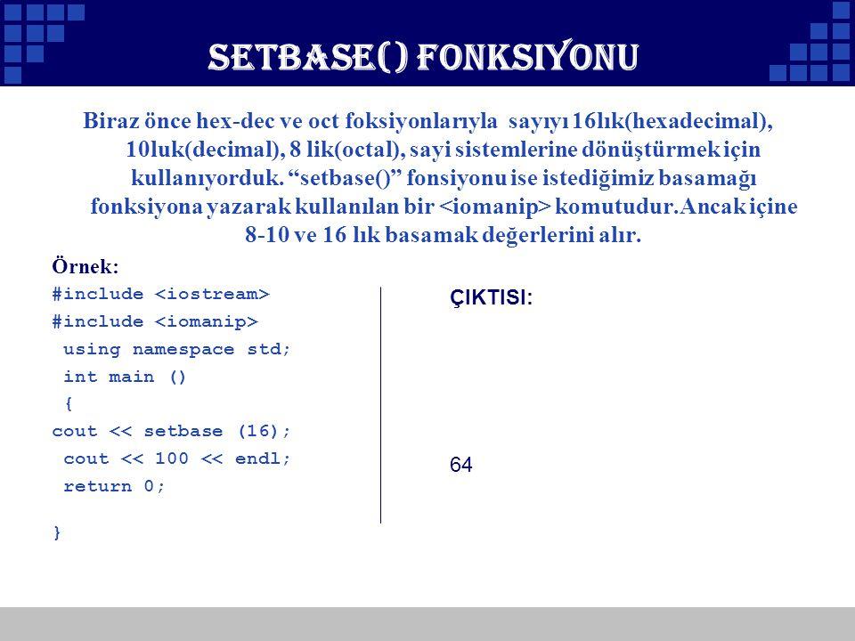 Setbase() Fonksiyonu