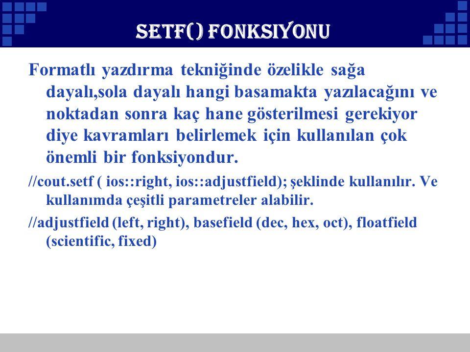 Setf() Fonksiyonu