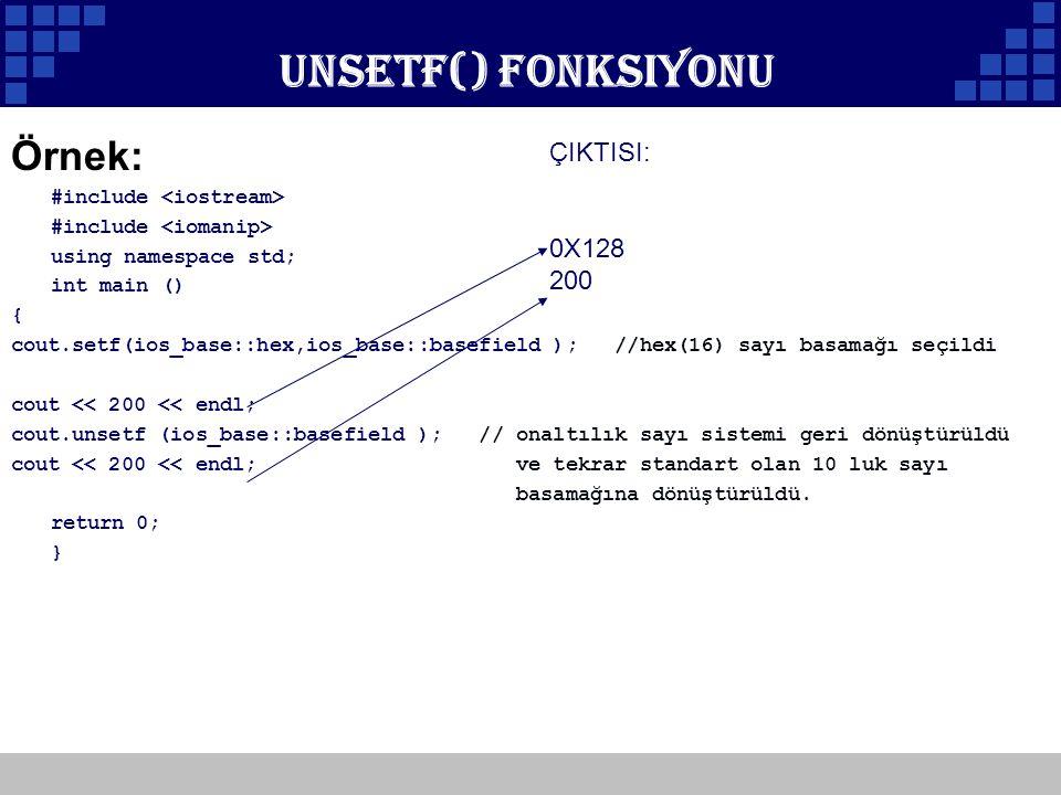 Unsetf() Fonksiyonu Örnek: ÇIKTISI: 0X128 200