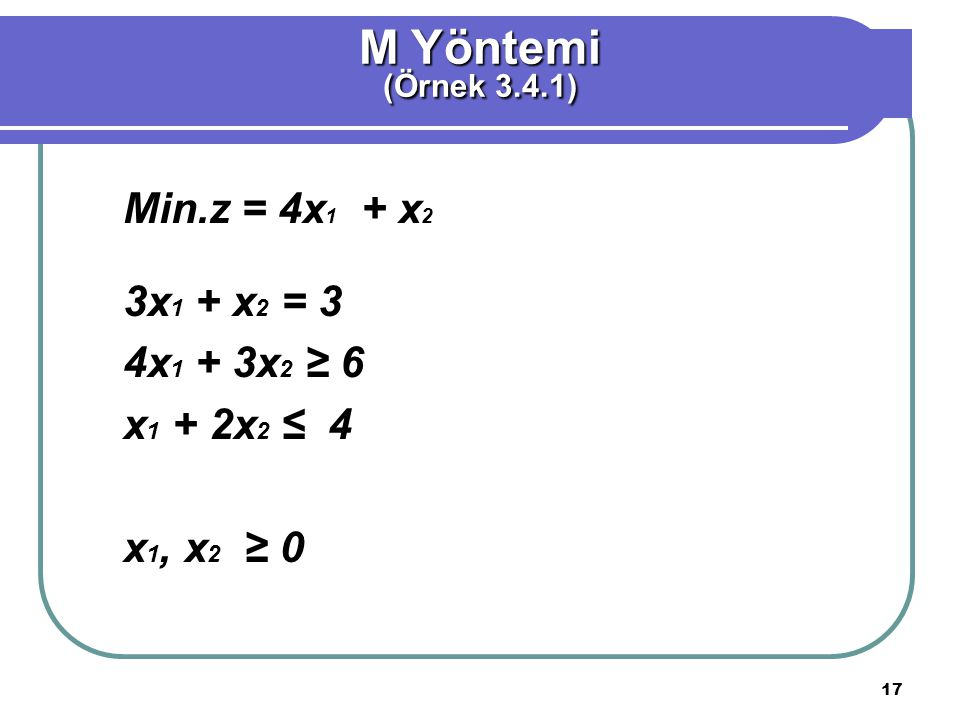 M Yöntemi Min.z = 4x1 + x2 3x1 + x2 = 3 4x1 + 3x2 ≥ 6 x1 + 2x2 ≤ 4