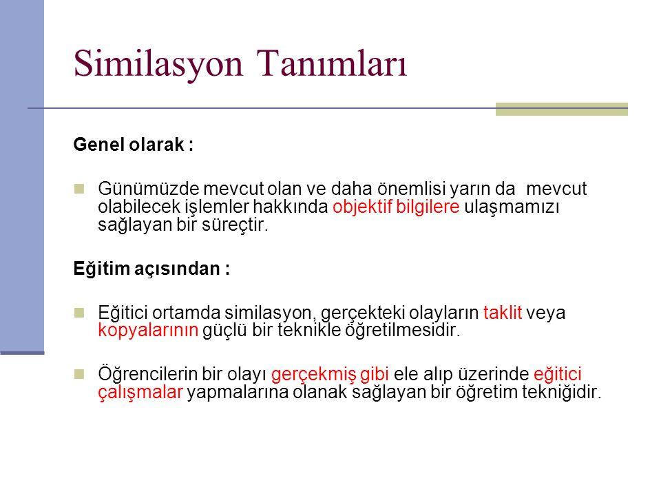 Similasyon Tanımları Genel olarak :
