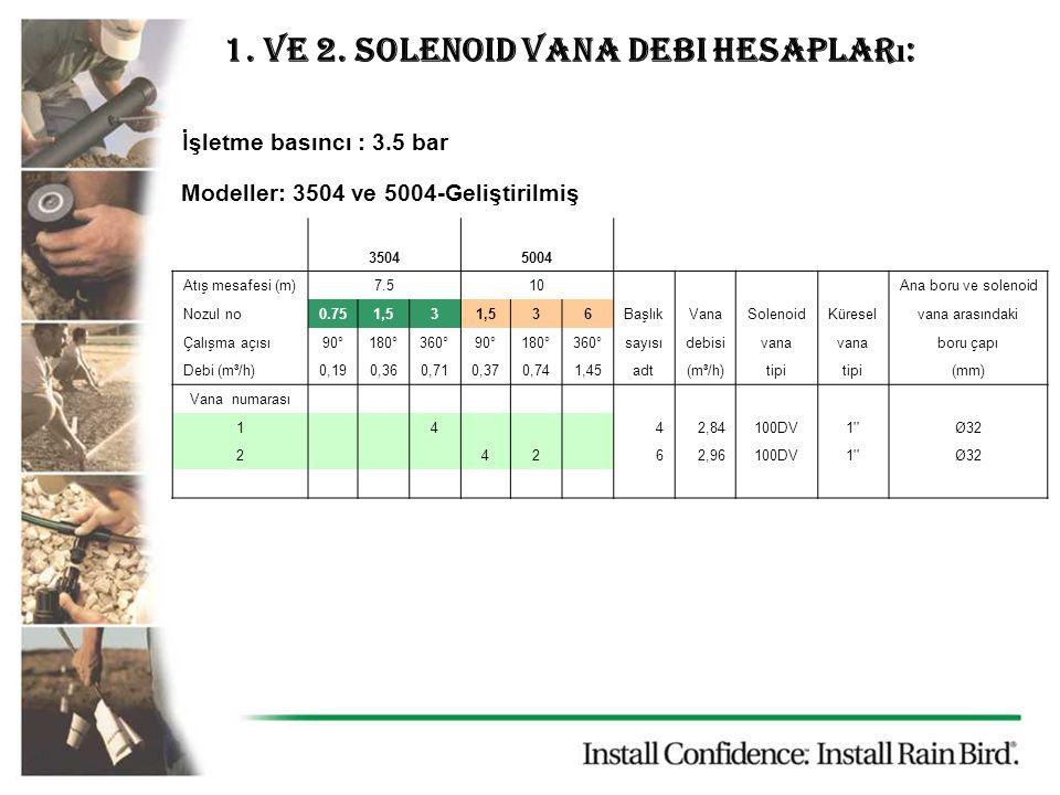 1. ve 2. solenoid vana debi hesapları:
