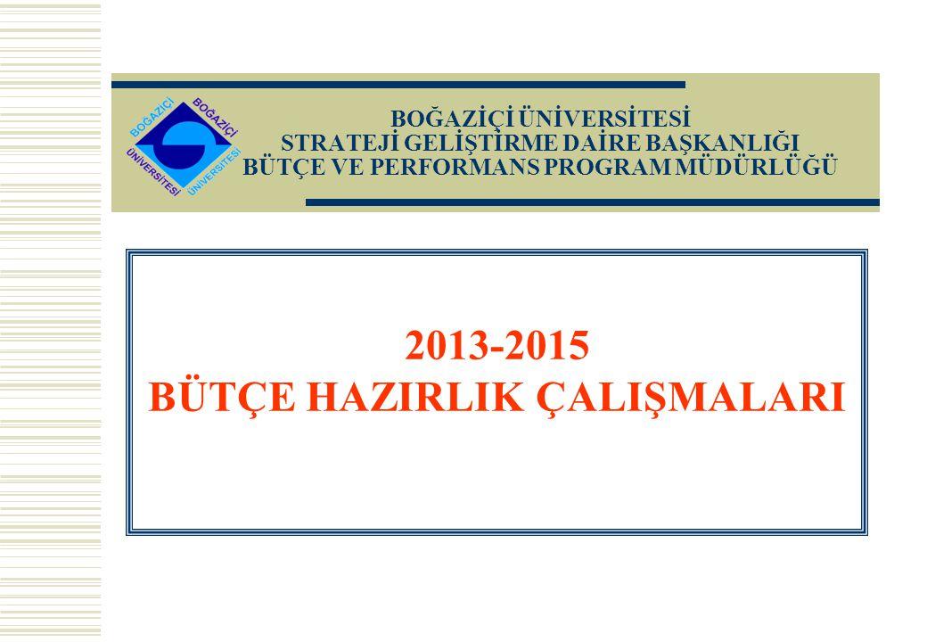 2013-2015 BÜTÇE HAZIRLIK ÇALIŞMALARI