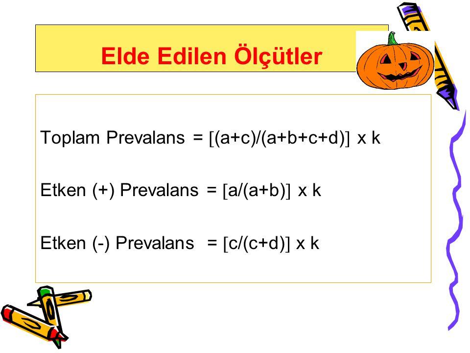 Elde Edilen Ölçütler Toplam Prevalans = (a+c)/(a+b+c+d) x k