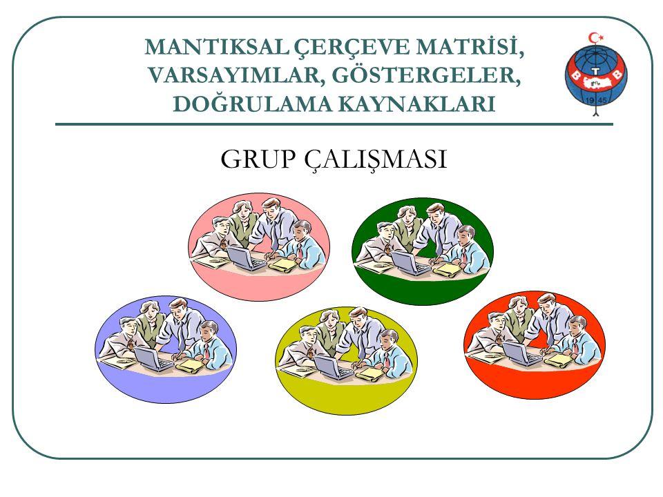 MANTIKSAL ÇERÇEVE MATRİSİ, VARSAYIMLAR, GÖSTERGELER, DOĞRULAMA KAYNAKLARI