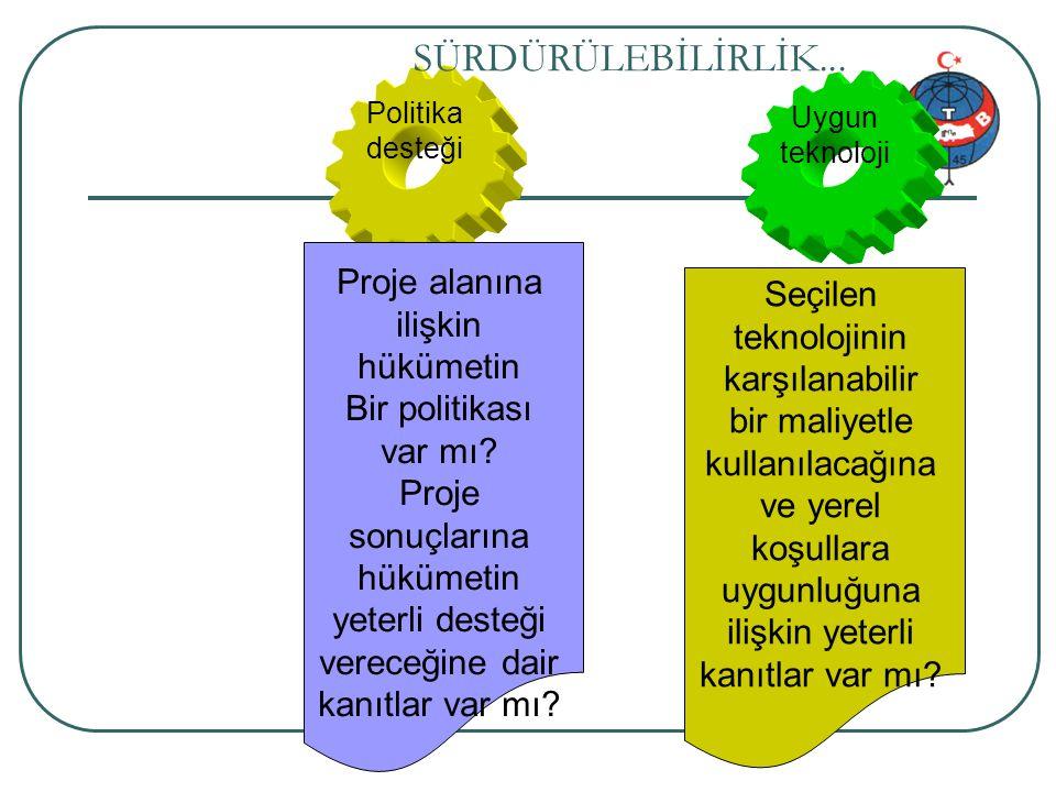 SÜRDÜRÜLEBİLİRLİK... Proje alanına ilişkin hükümetin