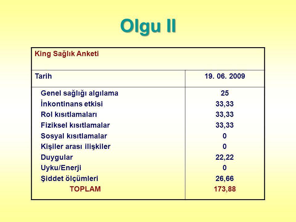Olgu II King Sağlık Anketi Tarih 19. 06. 2009 Genel sağlığı algılama