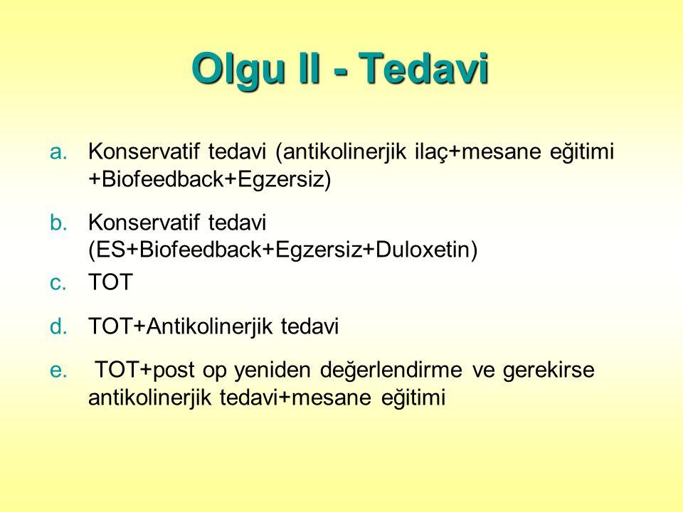 Olgu II - Tedavi Konservatif tedavi (antikolinerjik ilaç+mesane eğitimi +Biofeedback+Egzersiz)
