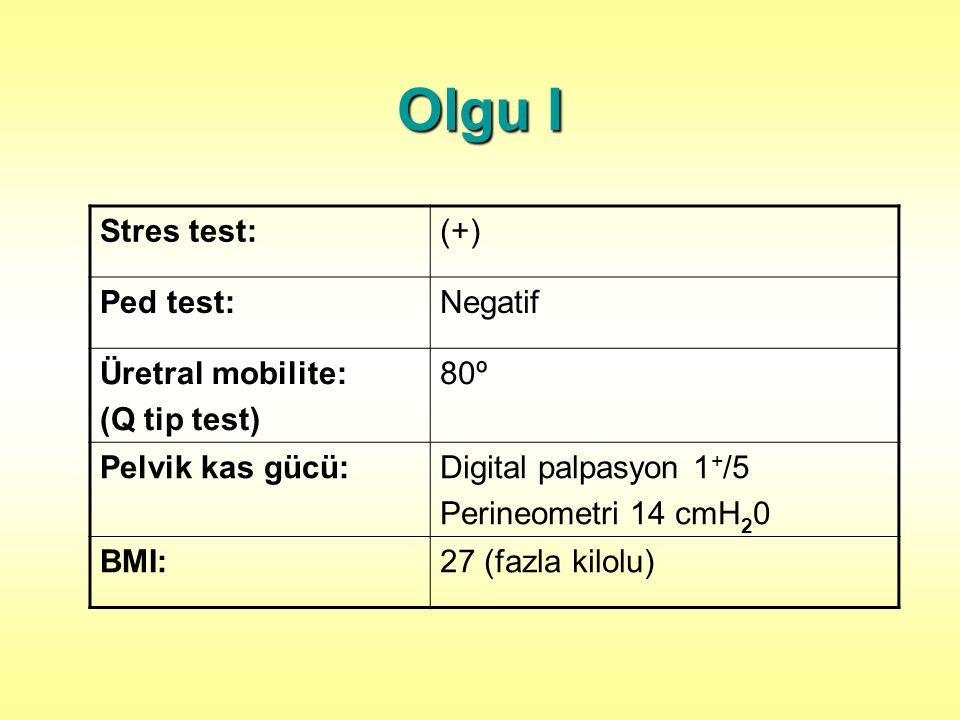 Olgu I Stres test: (+) Ped test: Negatif Üretral mobilite: