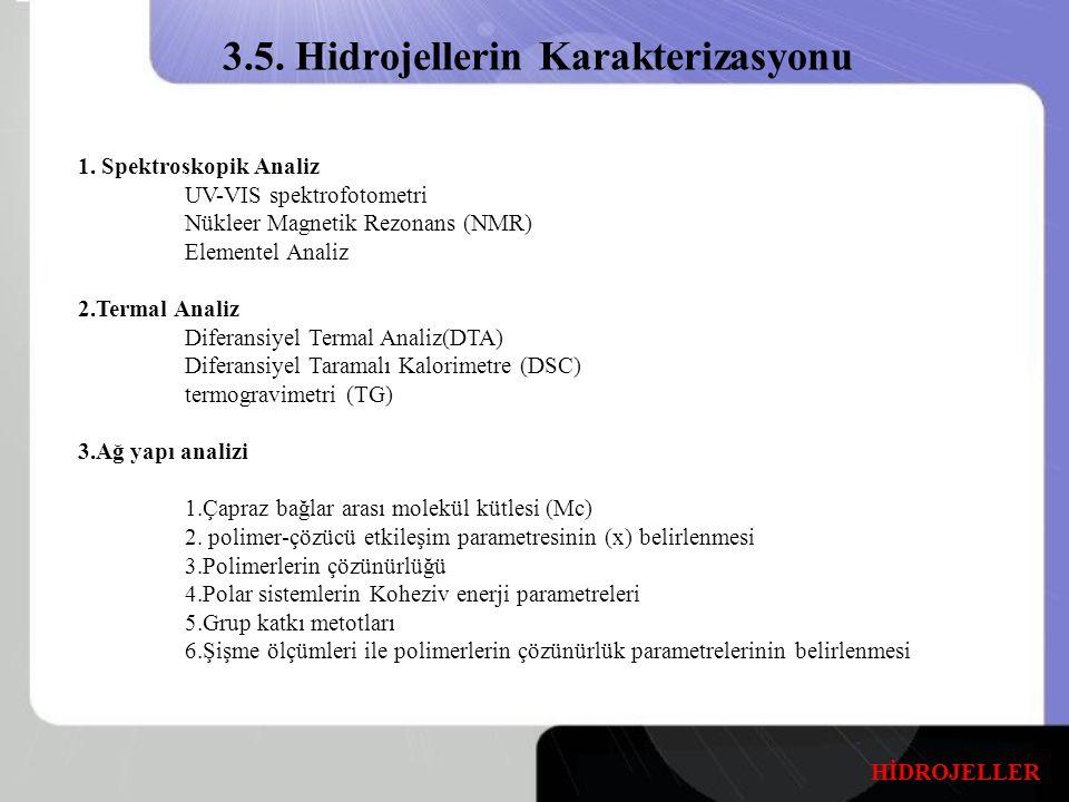 3.5. Hidrojellerin Karakterizasyonu