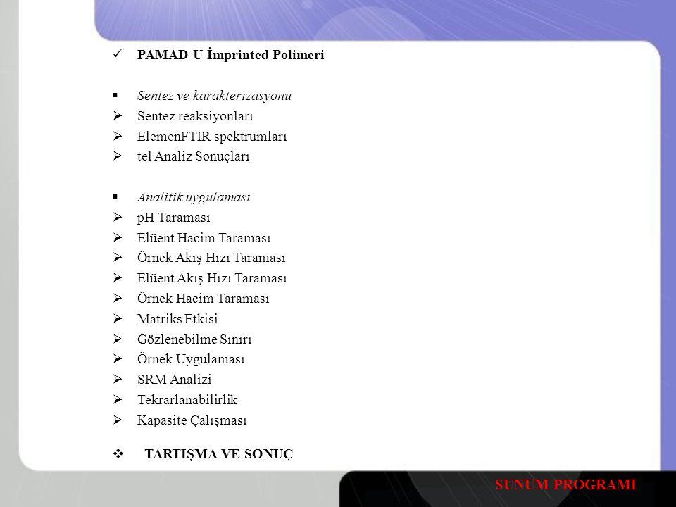 SUNUM PROGRAMI PAMAD-U İmprinted Polimeri Sentez ve karakterizasyonu