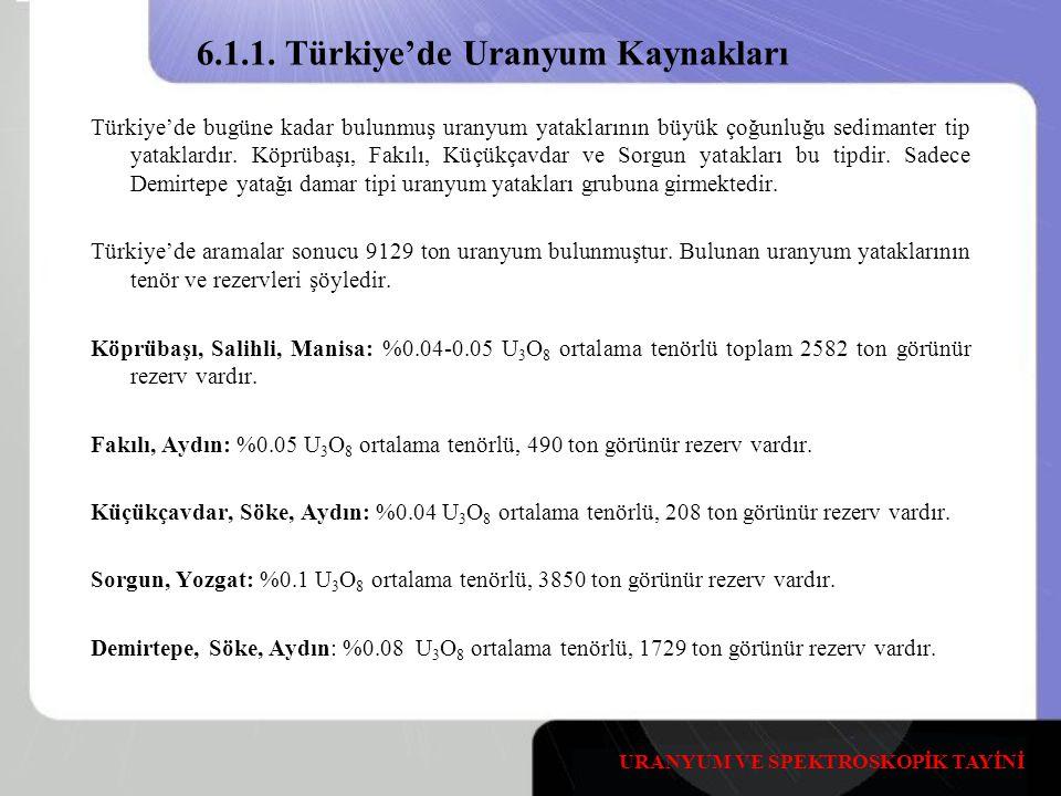 6.1.1. Türkiye'de Uranyum Kaynakları