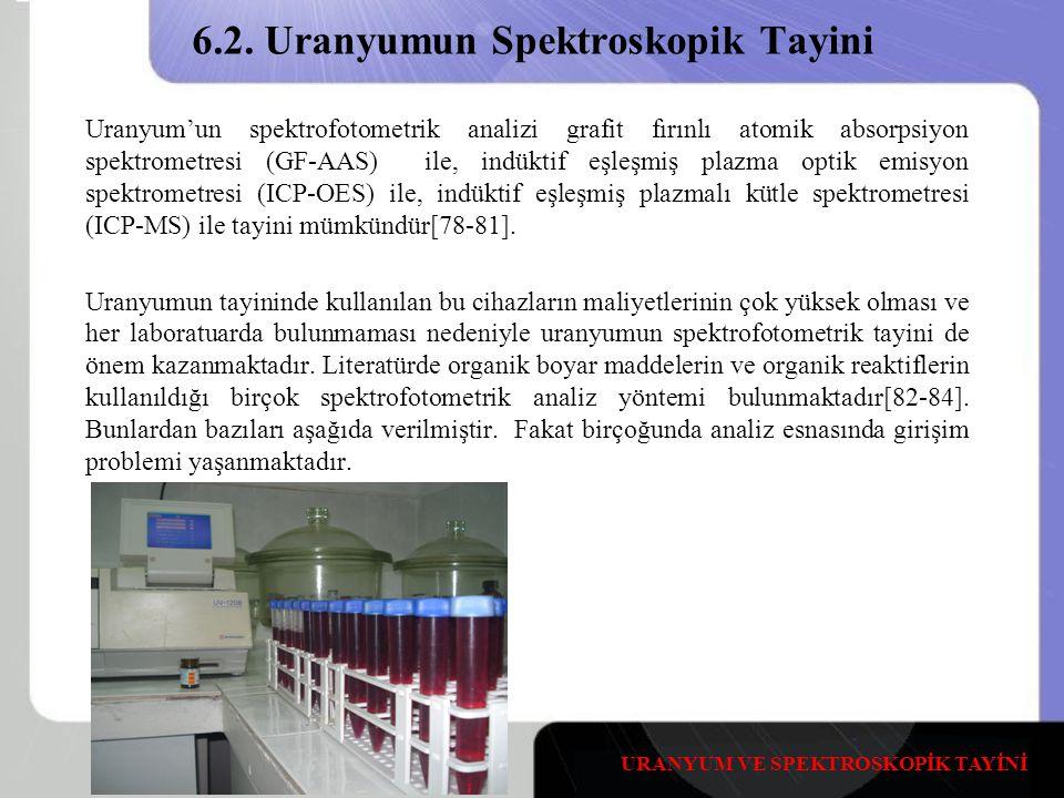 6.2. Uranyumun Spektroskopik Tayini