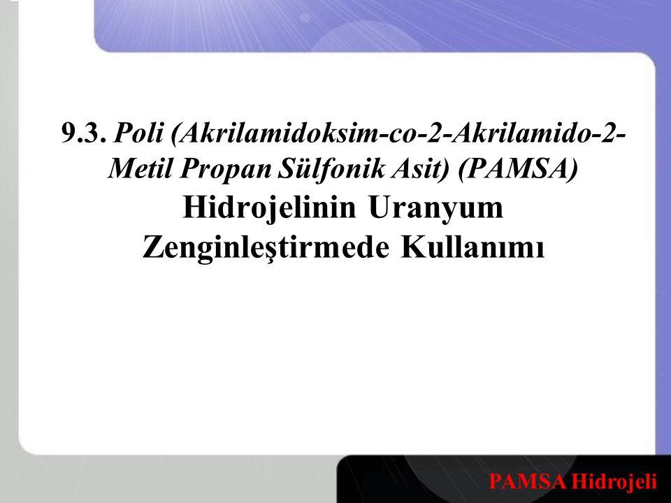 9.3. Poli (Akrilamidoksim-co-2-Akrilamido-2-Metil Propan Sülfonik Asit) (PAMSA) Hidrojelinin Uranyum Zenginleştirmede Kullanımı