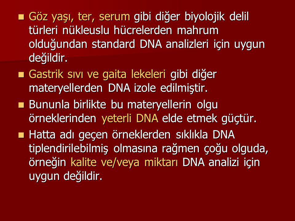 Göz yaşı, ter, serum gibi diğer biyolojik delil türleri nükleuslu hücrelerden mahrum olduğundan standard DNA analizleri için uygun değildir.