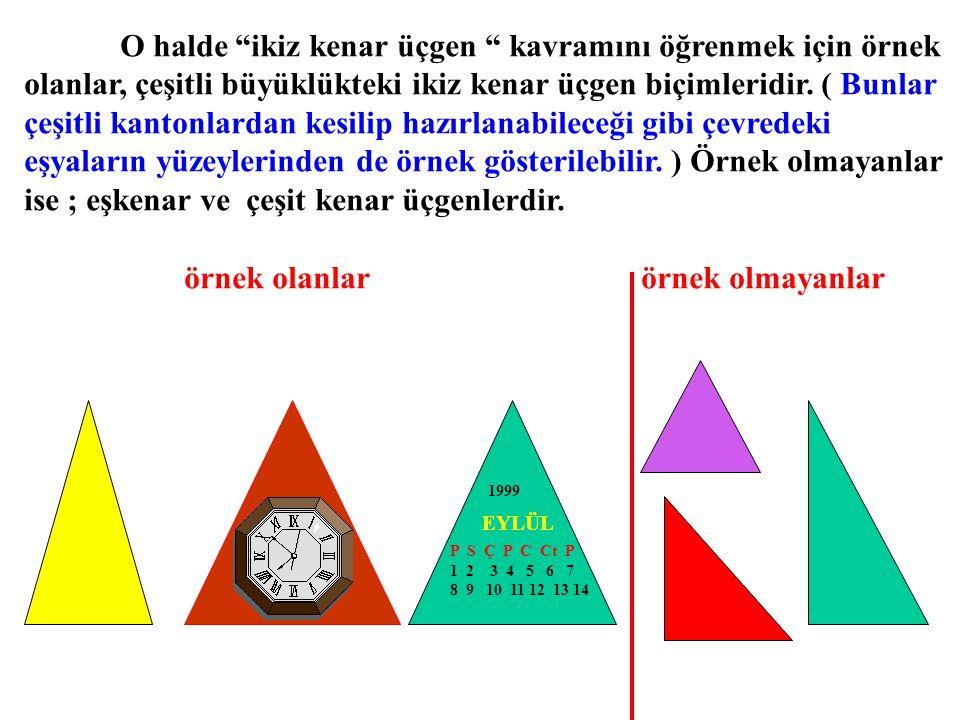 O halde ikiz kenar üçgen kavramını öğrenmek için örnek
