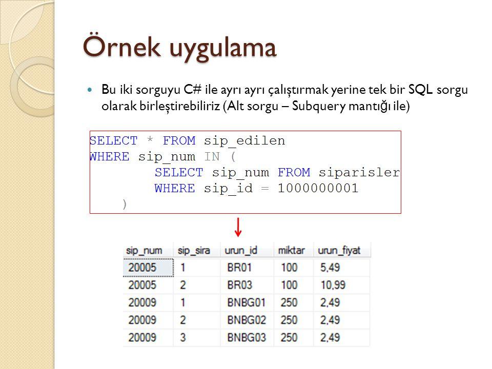 Örnek uygulama Bu iki sorguyu C# ile ayrı ayrı çalıştırmak yerine tek bir SQL sorgu olarak birleştirebiliriz (Alt sorgu – Subquery mantığı ile)
