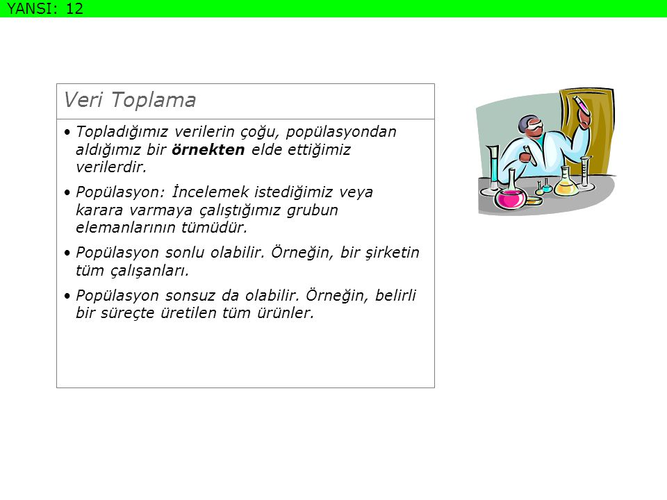 DEFINITION SLIDE Veri Toplama YANSI: 12