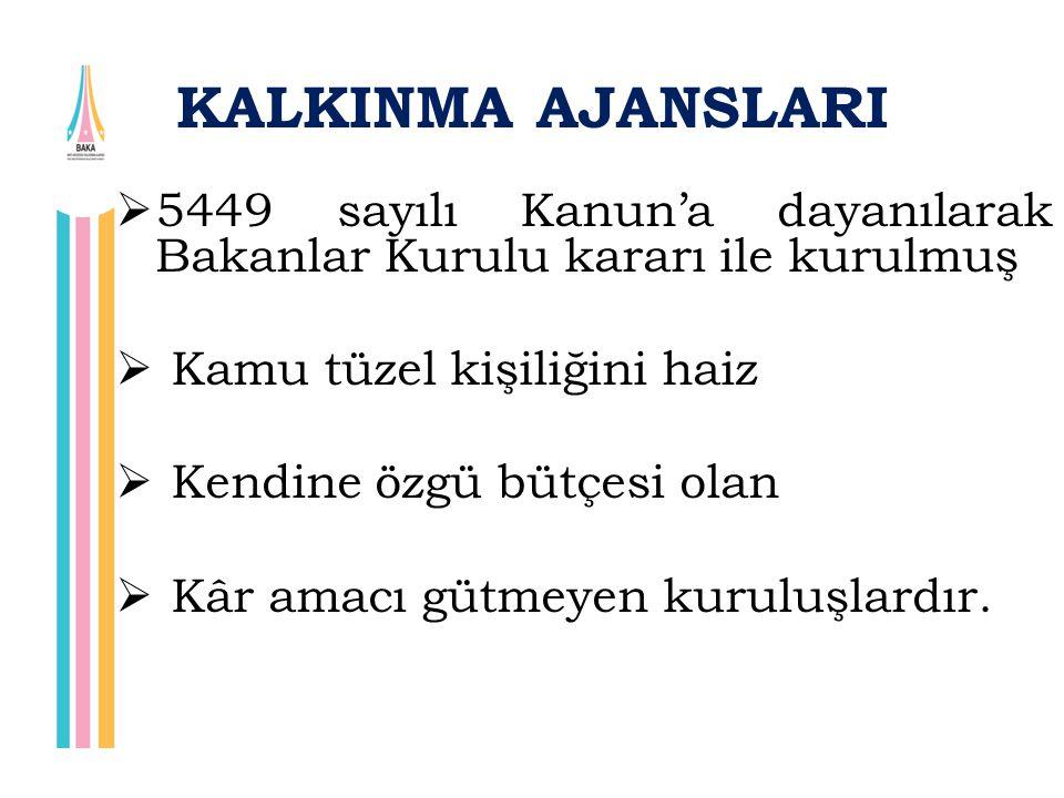 KALKINMA AJANSLARI 5449 sayılı Kanun'a dayanılarak Bakanlar Kurulu kararı ile kurulmuş. Kamu tüzel kişiliğini haiz.