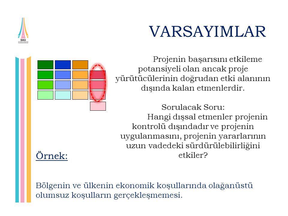 VARSAYIMLAR Projenin başarısını etkileme potansiyeli olan ancak proje yürütücülerinin doğrudan etki alanının dışında kalan etmenlerdir.
