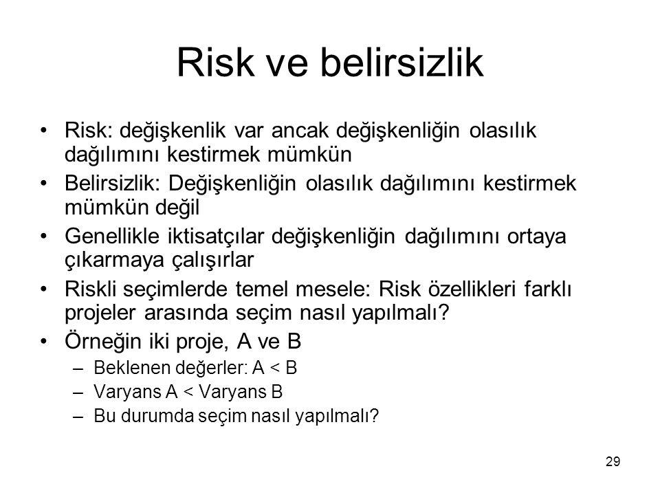 Risk ve belirsizlik Risk: değişkenlik var ancak değişkenliğin olasılık dağılımını kestirmek mümkün.