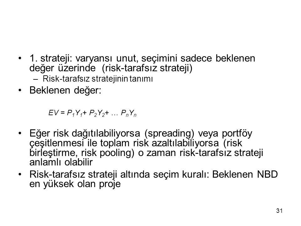 1. strateji: varyansı unut, seçimini sadece beklenen değer üzerinde (risk-tarafsız strateji)