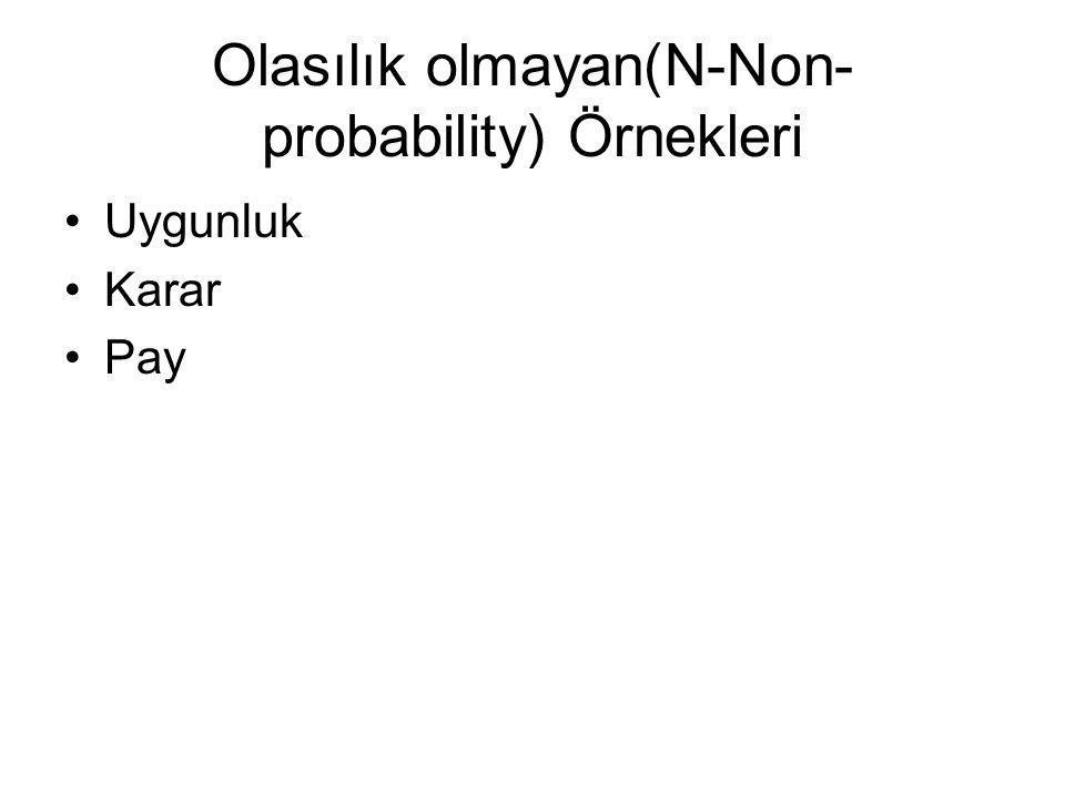 Olasılık olmayan(N-Non-probability) Örnekleri