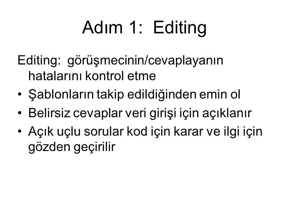 Adım 1: Editing Editing: görüşmecinin/cevaplayanın hatalarını kontrol etme. Şablonların takip edildiğinden emin ol.