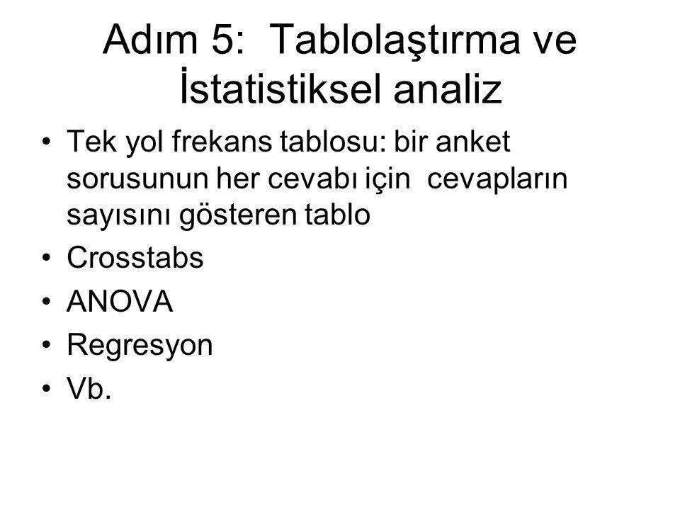 Adım 5: Tablolaştırma ve İstatistiksel analiz