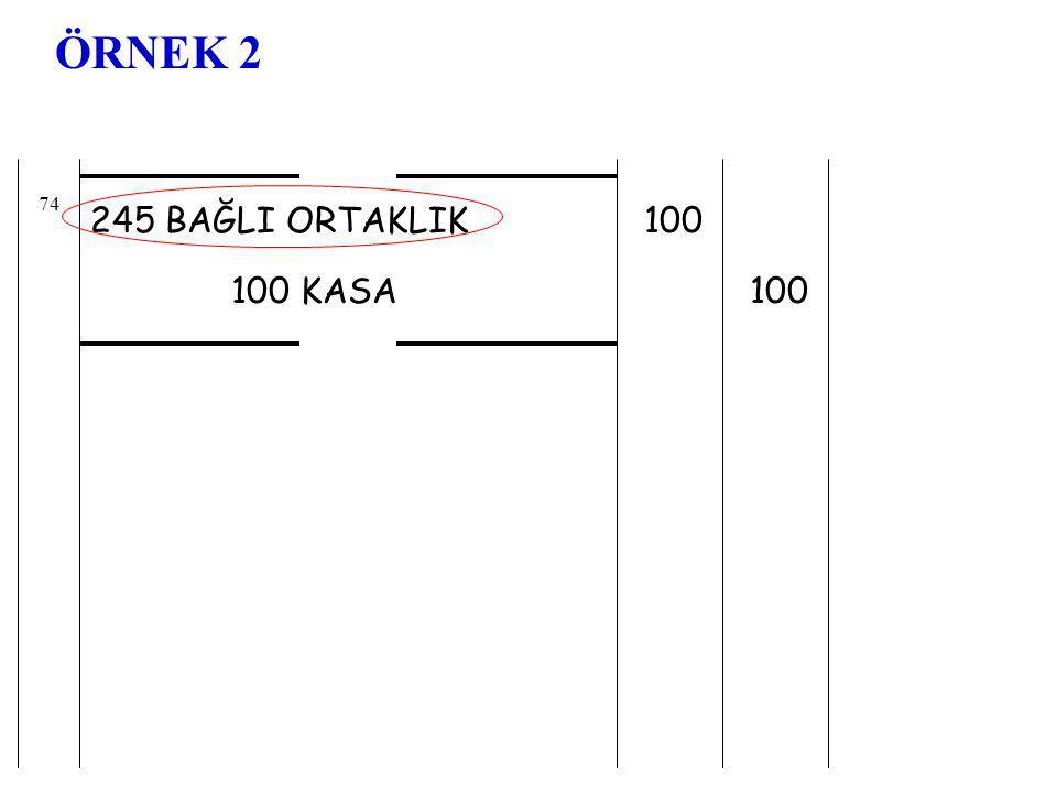 ÖRNEK 2 74 245 BAĞLI ORTAKLIK 100 100 KASA 100