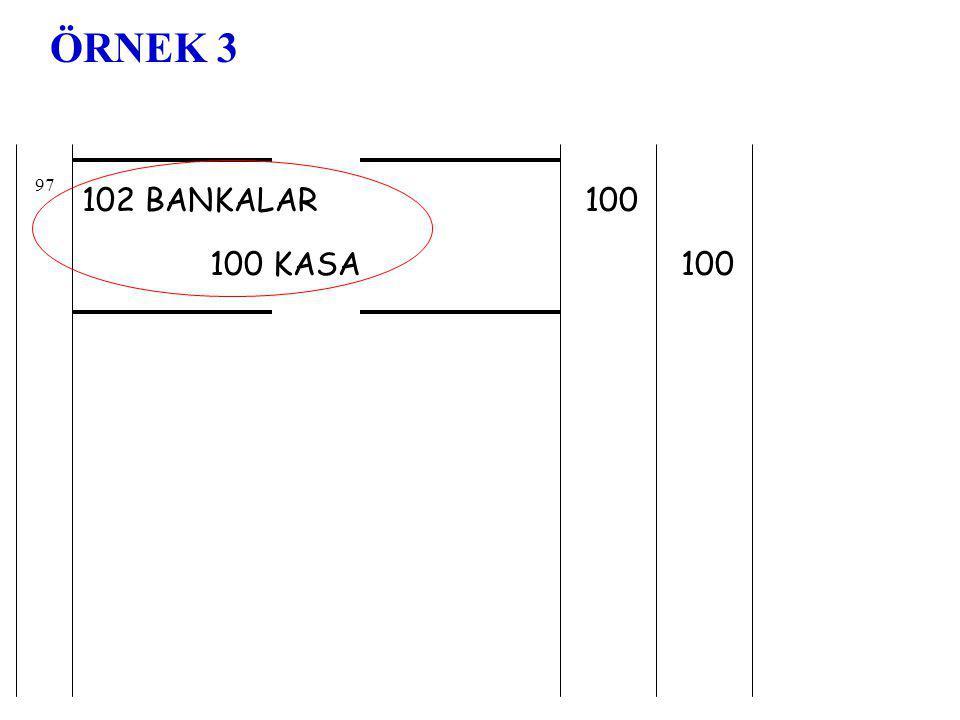 ÖRNEK 3 97 102 BANKALAR 100 100 KASA 100