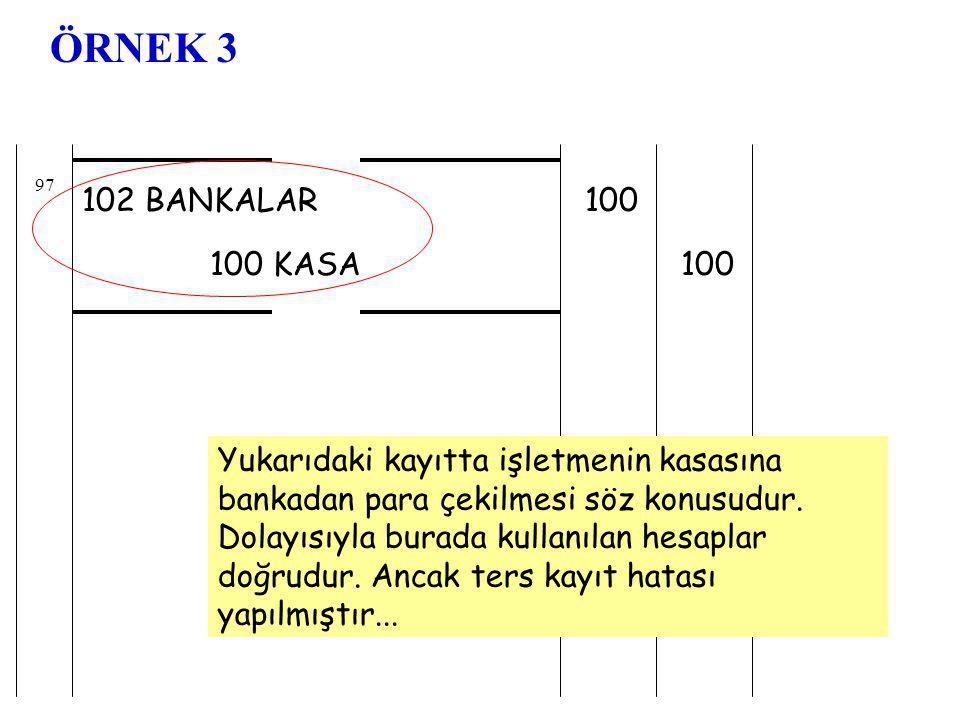 ÖRNEK 3 97. 102 BANKALAR. 100. 100 KASA. 100.