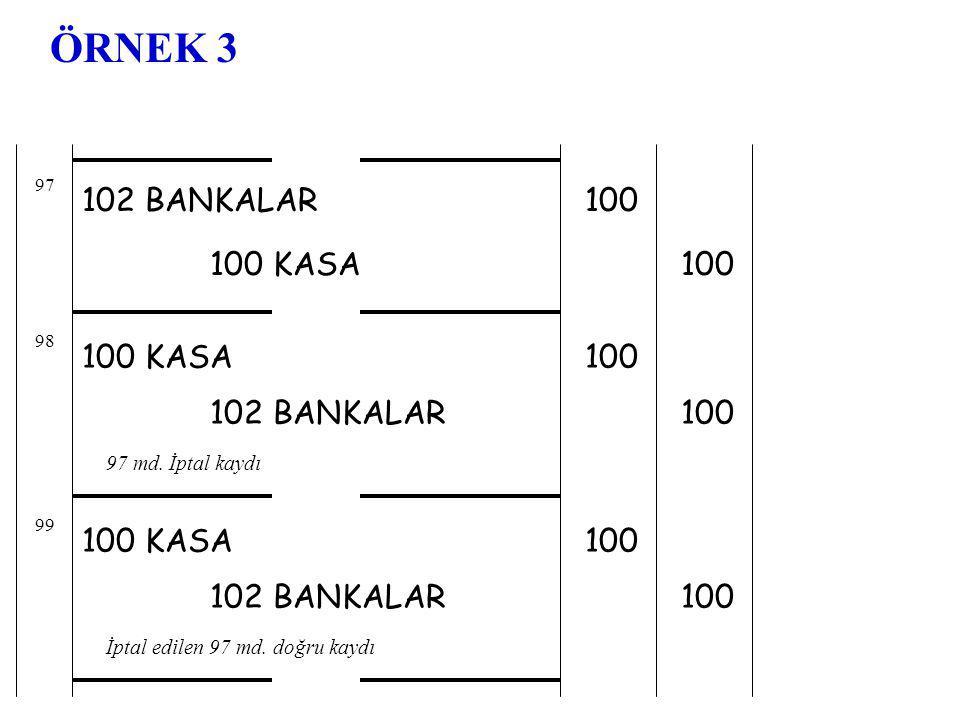 ÖRNEK 3 102 BANKALAR 100 100 KASA 100 100 KASA 100 102 BANKALAR 100