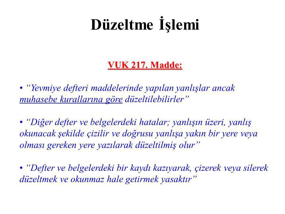 Düzeltme İşlemi VUK 217. Madde: