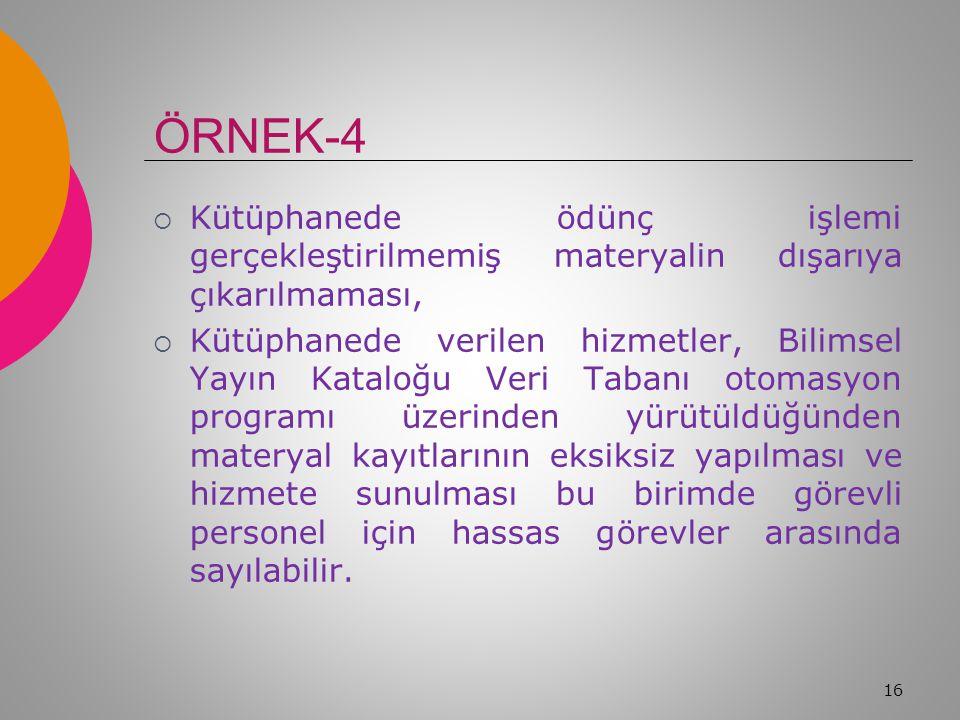 ÖRNEK-4 Kütüphanede ödünç işlemi gerçekleştirilmemiş materyalin dışarıya çıkarılmaması,