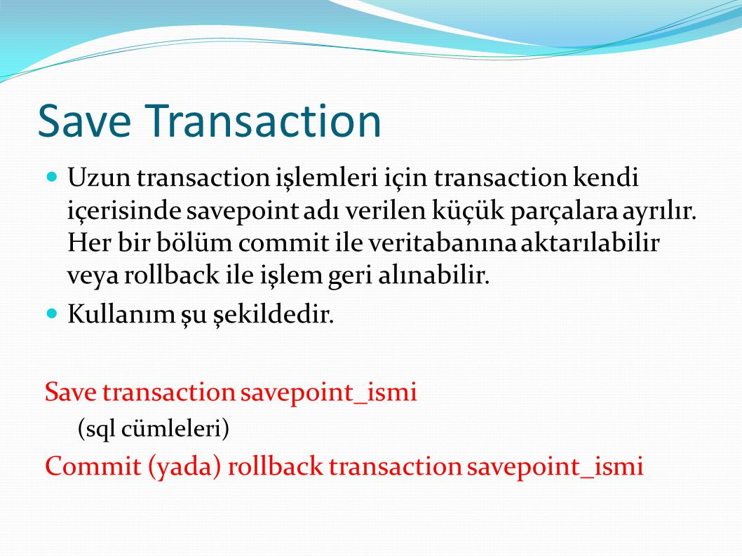 Save Transaction