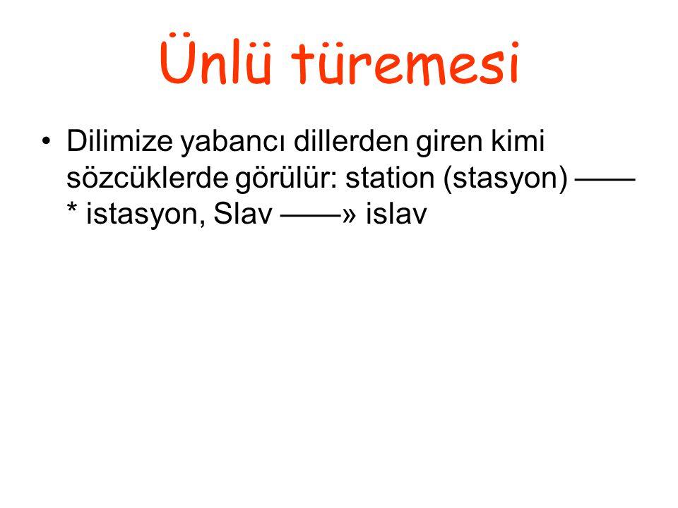 Ünlü türemesi Dilimize yabancı dillerden giren kimi sözcüklerde görülür: station (stasyon) ——* istasyon, Slav ——» islav.