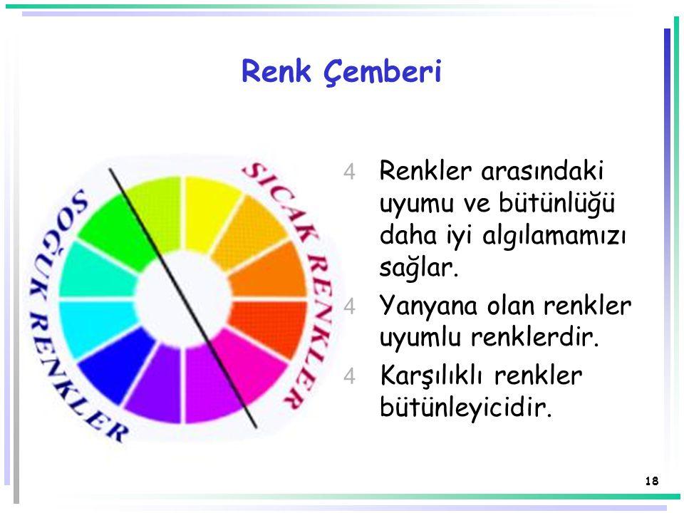 Renk Çemberi Renkler arasındaki uyumu ve bütünlüğü daha iyi algılamamızı sağlar. Yanyana olan renkler uyumlu renklerdir.