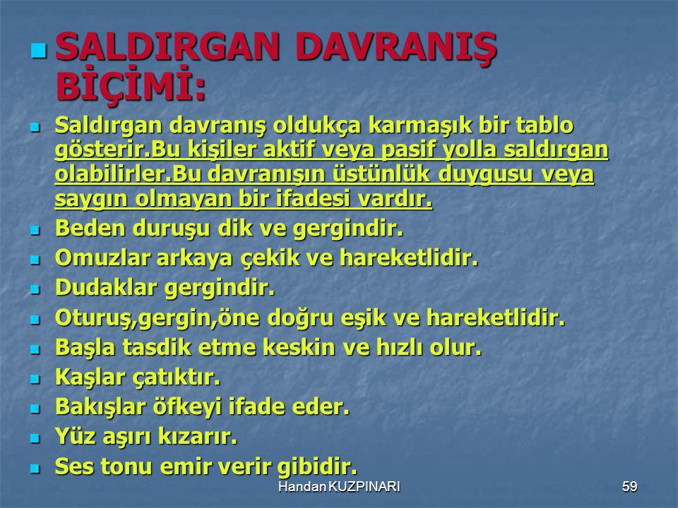 SALDIRGAN DAVRANIŞ BİÇİMİ: