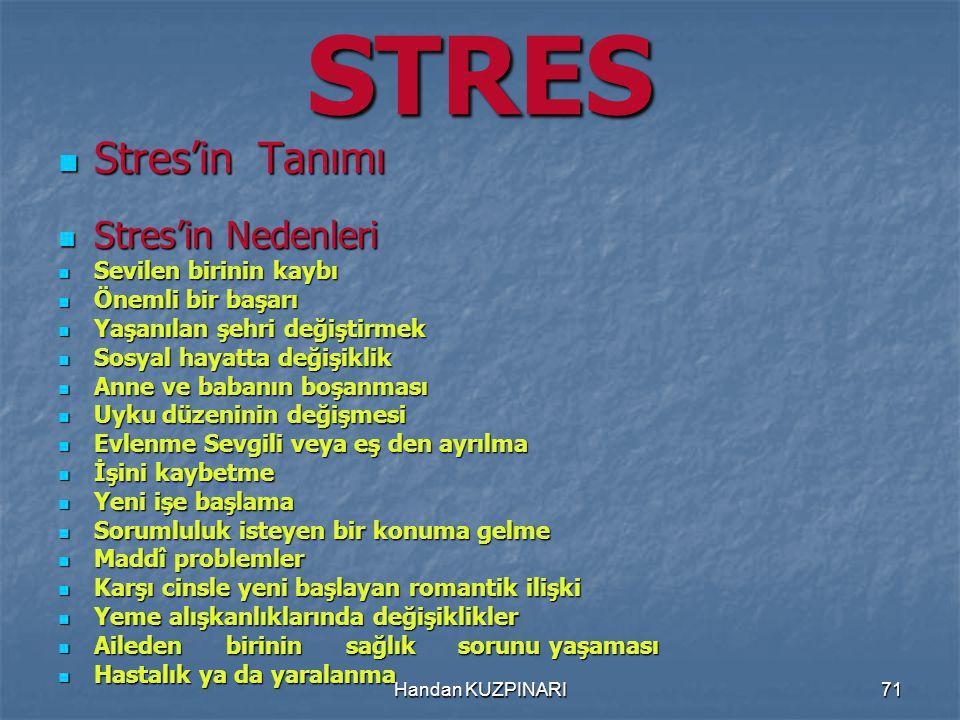 STRES Stres'in Tanımı Stres'in Nedenleri Sevilen birinin kaybı