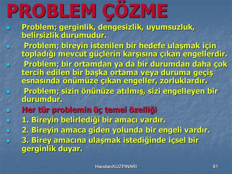 PROBLEM ÇÖZME Problem; gerginlik, dengesizlik, uyumsuzluk, belirsizlik durumudur.