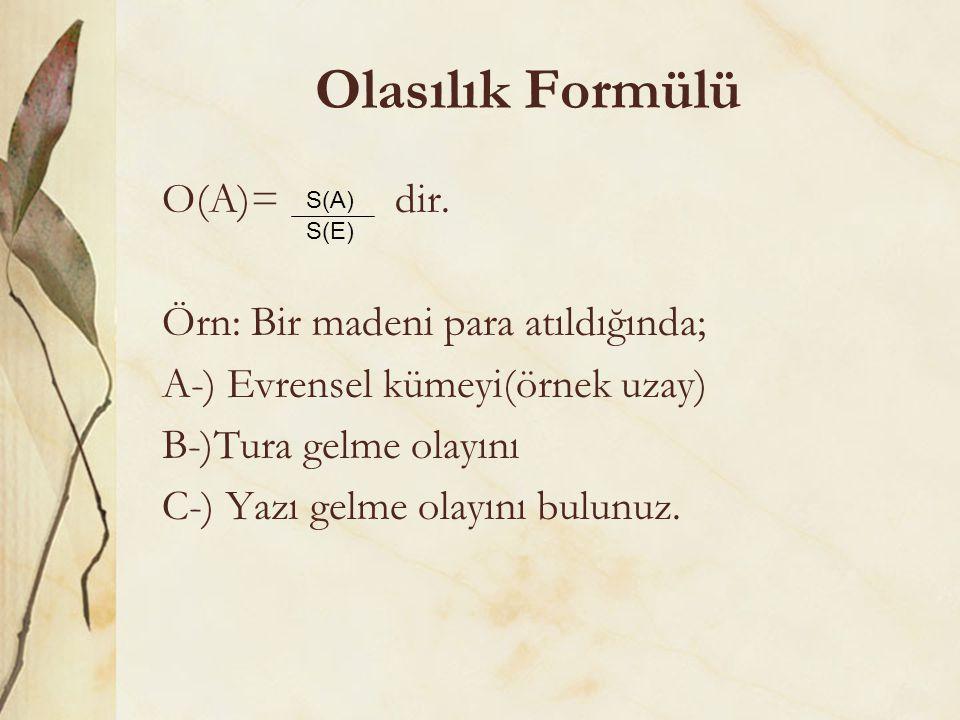 Olasılık Formülü O(A)= dir. Örn: Bir madeni para atıldığında;