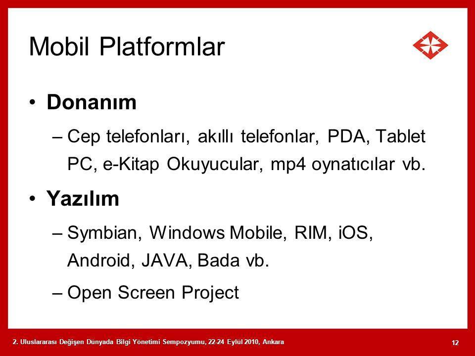 Mobil Platformlar Donanım Yazılım
