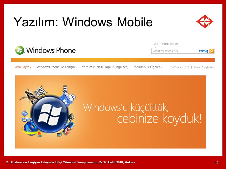 Yazılım: Windows Mobile