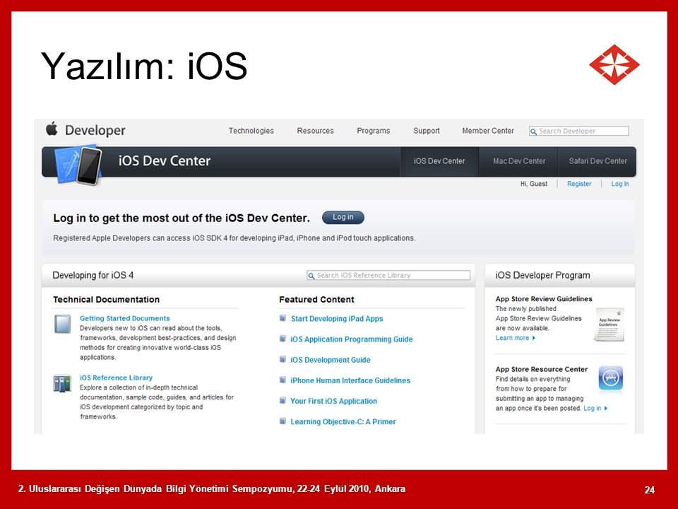 Yazılım: iOS 2. Uluslararası Değişen Dünyada Bilgi Yönetimi Sempozyumu, 22-24 Eylül 2010, Ankara