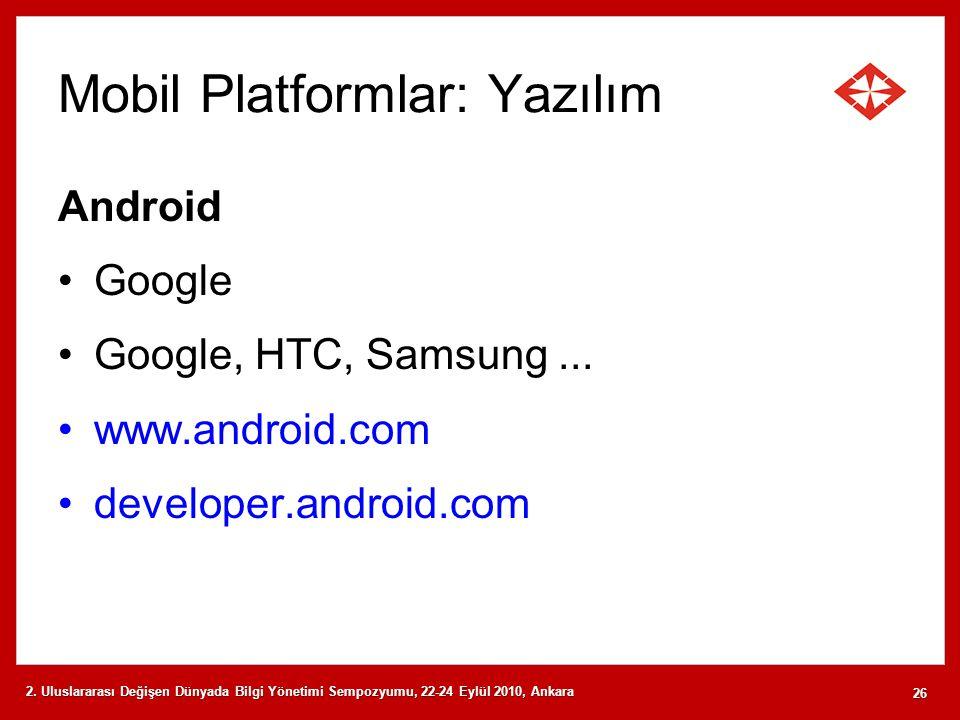 Mobil Platformlar: Yazılım