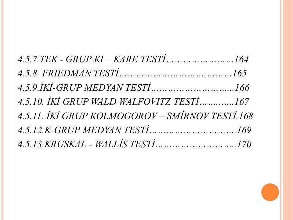 4.5.7.TEK - GRUP KI – KARE TESTİ……………………164