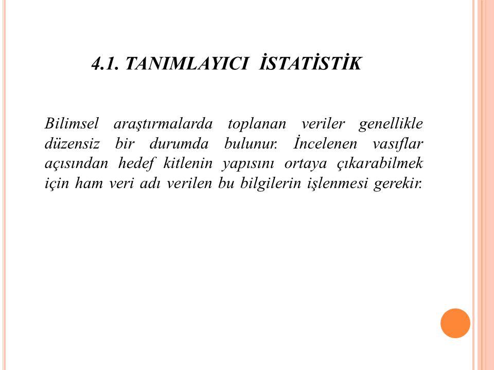 4.1. TANIMLAYICI İSTATİSTİK