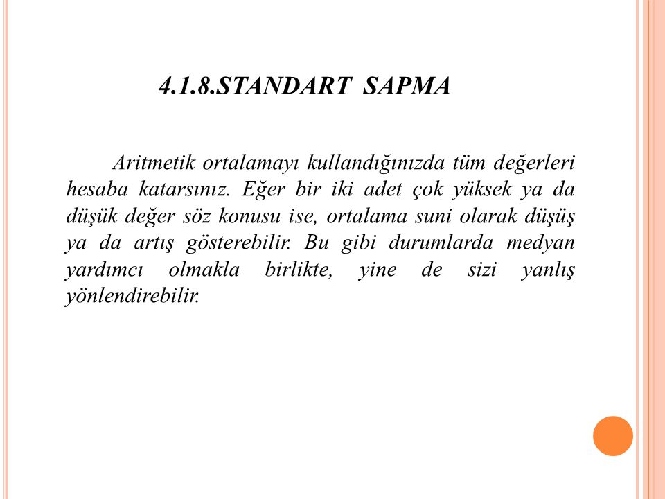 4.1.8.STANDART SAPMA