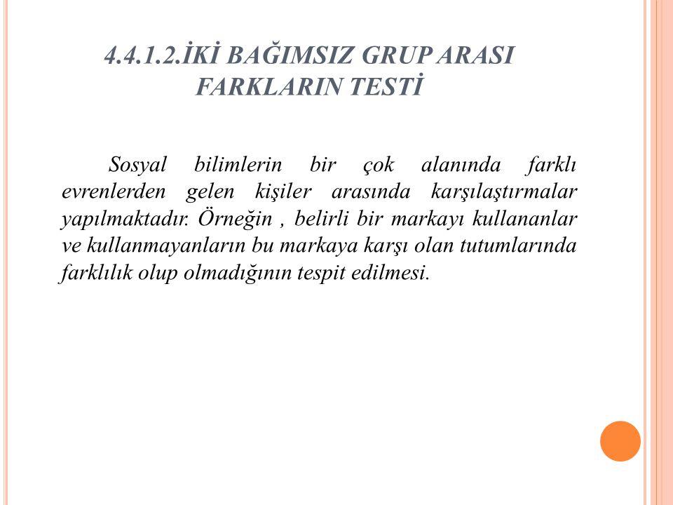 4.4.1.2.İKİ BAĞIMSIZ GRUP ARASI FARKLARIN TESTİ